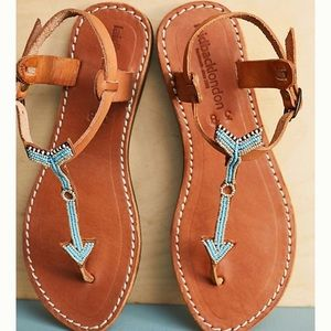 Laidback London Arrow Beaded Leather Thong Sandals